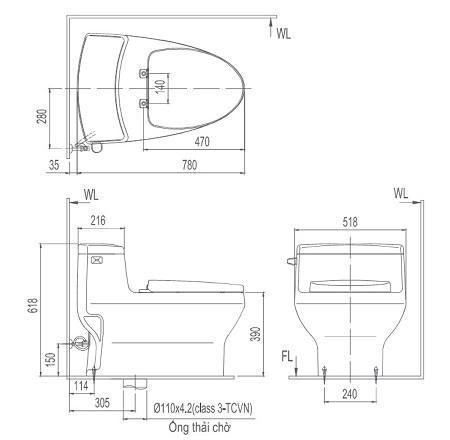Bồn cầu 1 khối Inax AC-4005VN