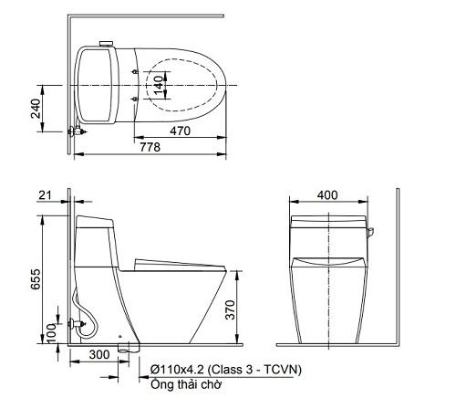 Bồn cầu 1 khối Inax AC-918VRN