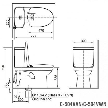 bồn cầu inax 2 khối c-504vwn