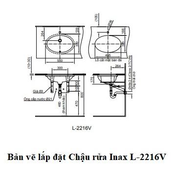 Chậu rửa âm bàn Inax L-2216V