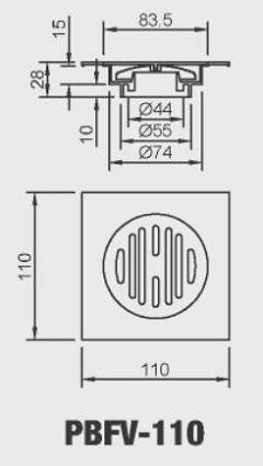 phễu thoát sàn inax pbfv-110