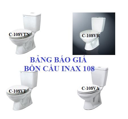 Bảng báo giá bồn cầu Inax 108: VA; VT, VR,… Chiết khấu cao nhất