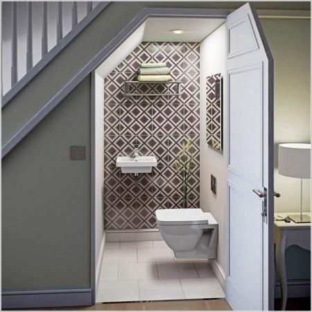 Ý TƯỞNG làm nhà vệ sinh dưới cầu thang TIẾT KIỆM diện tích nhất 2021