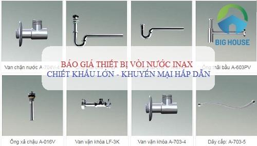 Báo giá phụ kiện thiết bị vòi nước Inax MỚI – KHUYẾN MẠI hấp dẫn