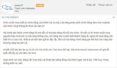 Đại lý Inax tại Hà Nội chính hãng