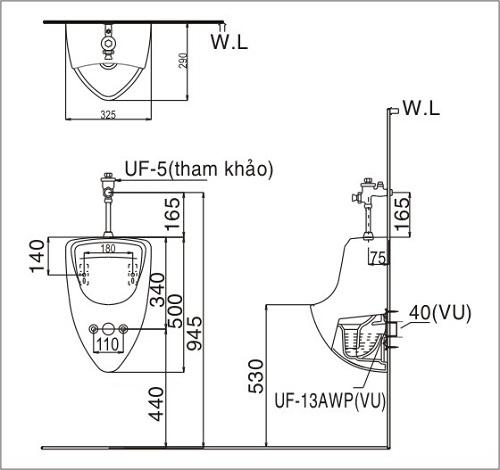 cách lắp đặt bồn tiểu Inax U440V