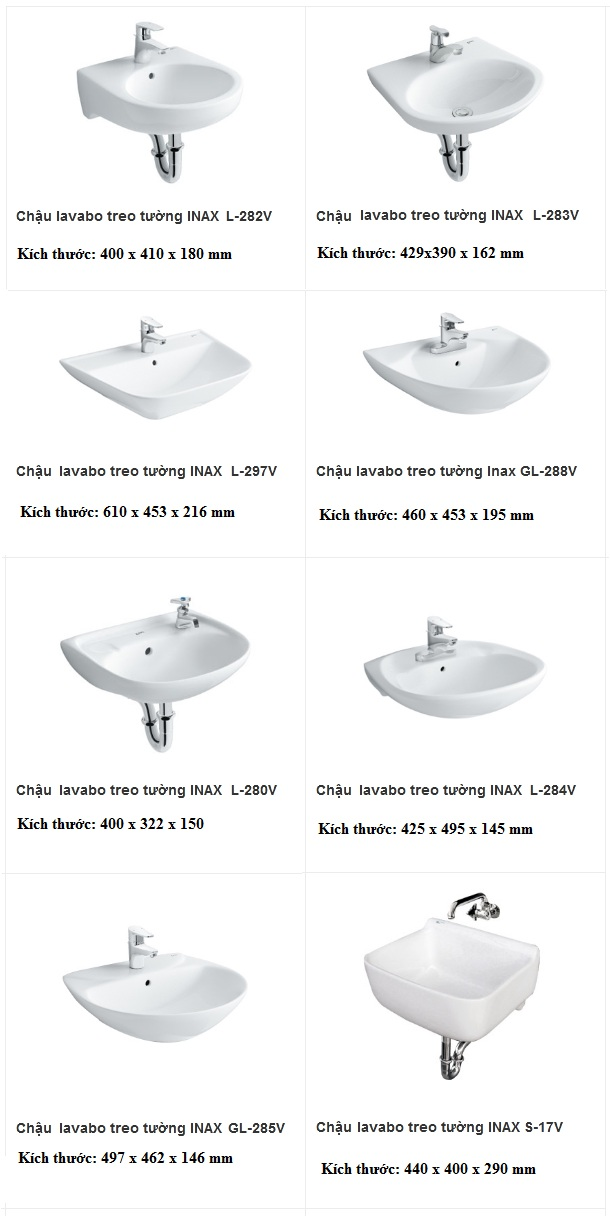 Kích thước lavabo treo tường