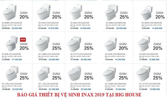 Bảng báo giá thiết bị vệ sinh Inax 2019: Bồn cầu, Chậu rửa, Sen vòi…