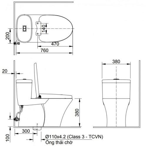 kích thước bồn cầu inax