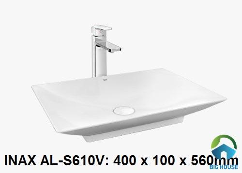 Kích thước chậu lavabo đặt bàn Inax AL-S610V