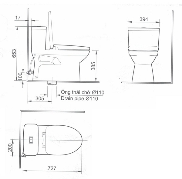 bản vẽ bồn cầu inax ac-969vn