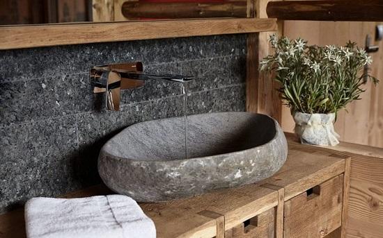 Chậu rửa mặt bằng đá tự nhiên màu xám