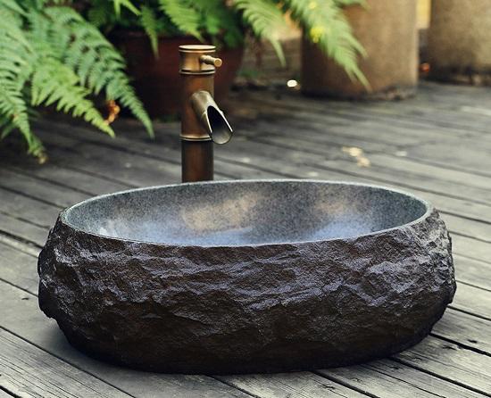 Mẫu chậu rửa mặt bằng đá cuội thô nhám