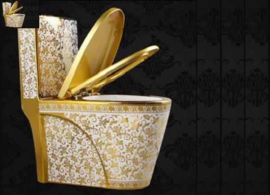 Bồn cầu mạ vàng Gia Mỹ A-2866 mang đậm phong cách Hoàng tộc